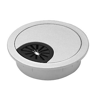 80mm Ronde Computer Pc Tafel kabeldraad stopcontact Silver Desk Grommet Hole Cover