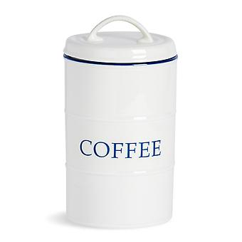 Nicola Spring Country Farmhouse White Kitchen Caffè Canister con Bordo Blu - 11cm x 20cm