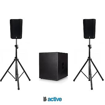 "Big gig rig 48 - compact active pa system 1200w rms 8"" tops and 18"" sub with bluetooth"