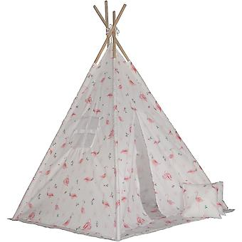 Teepee cort Jucării Enero, mat și perne flamingo