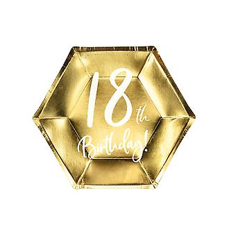 Gold 18th Birthday Party Farfurii De Hârtie Partyware 20cm x 6