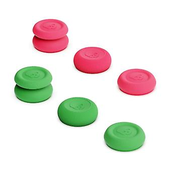 Skull & Co. 6 Thumb Grips for PlayStation 4 and 5 - Anti-Slip Controller Caps PS4 / PS5 - Green and Pink
