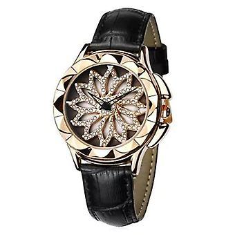 Rotation Diamond Ladies Wrist Watch Genuine Leather Strap Quartz Movement Watch