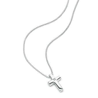 D for diamond 925 Sterling Silver Children's Cross Pendant Necklace of Length 35cm