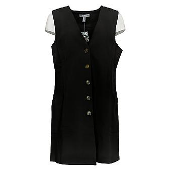 Lisa Rinna Collection Women's Top Button Front Vest Black A383931