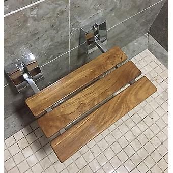 Moderne Teak Folding Shower Seat Bench Chrome Wall Mount Wood