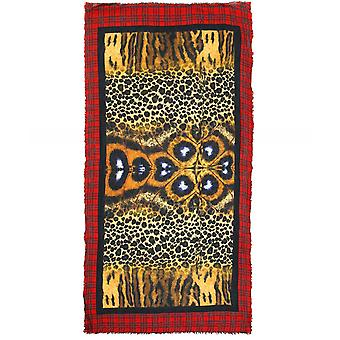 Ahujasons Animal Print Tartan Trim Scarf