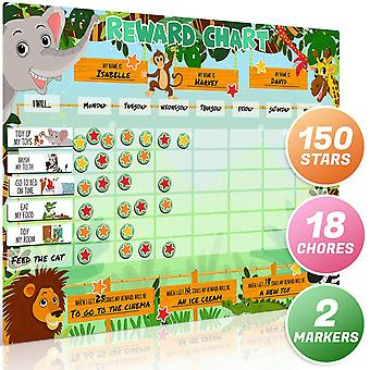 Luigi's large safari animal magnetic star/reward chart for kids: encourages good behaviour and custo