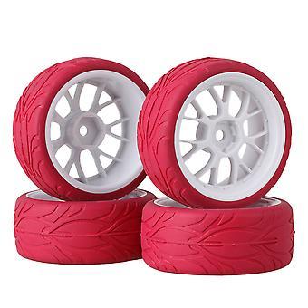 4ks Biely tvar Y wheel rim červená rybia škála gumová pneumatika pre RC1:10 na ceste auto