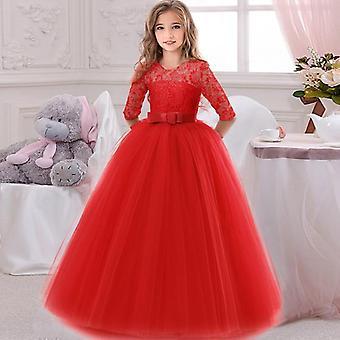 Flower's cumpleaños banquete encaje costura vestido, elegante fiesta de la noche princesa