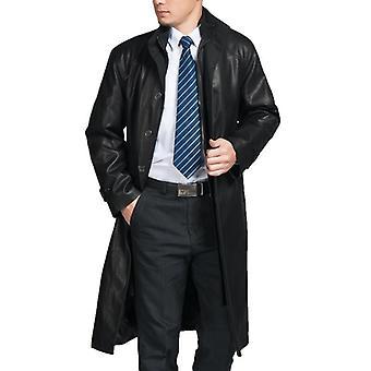 Mens κορυφαίας ποιότητας Parka πλήρες μήκος δερμάτινο παλτό