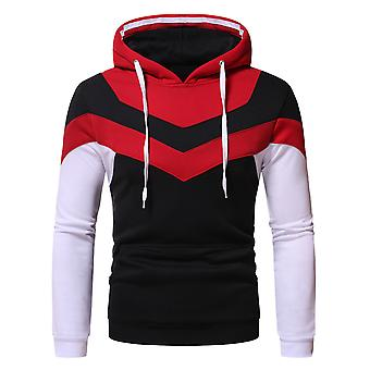 Yunyun Men's Loose Fit Casual Color Block Pullover Hooded Drawstring Sweatshirt