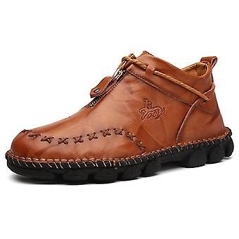 Kožené zimní horní topy muž ležérní kotníkové boty pohodlné pánské apos,s sněžnice