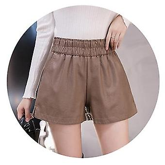 Shintimes Elastic High Waist Wide Leg Biker Pu Leather Shorts