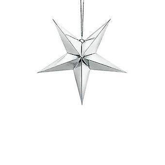 Décoration d'étoile suspendue de papier argent45cm mariage de Noel