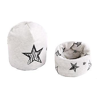 Plush Hat Scarf Set, Stars Print, Neck Collar