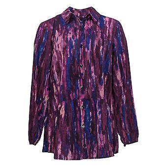 LOGO Par Lori Goldstein Women's Blouse Woven Button Front Purple A365840
