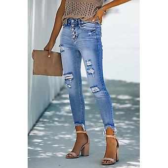 High Rise Button Front Frayed Ankle Skinny Jeans