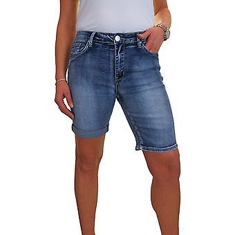 Women's Stretch Denim Jeans Shorts Ladies Mid Rise Slim Fit Roll Up Cuff Summer Shorts