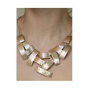 Gold Multi Rectangular Pendant Bib Necklace