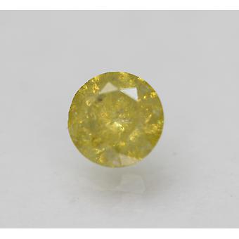 Cert 0.58 Carat Vivid Yellow Round Brilliant Enhanced Natural Diamond 5.15mm 3VG
