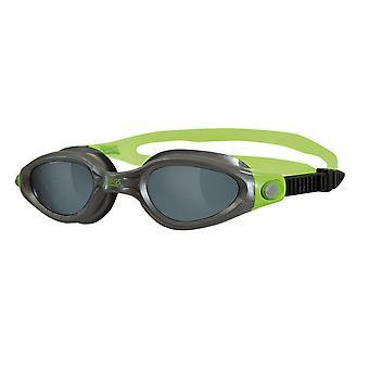Zoggs Phantom Elite Adult Swim Goggle - Smoke Lens - Silver/Green Frame