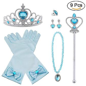 Vicloon elsa dress up accessories set of 9, elsa gloves, princess crown, ring, earring, magic wand a wof82697
