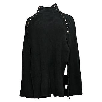 G.I.L.I. Got It Love It Women's Sweater Cape Button Details Black A299529