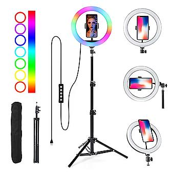 Selfie Flash Dimmable 10 RGB 10'' LED Ring Light Tripod Stand Phone Holder & Bag
