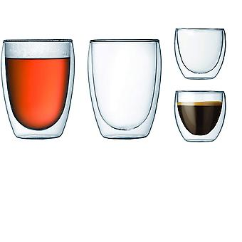 DZK K4557-10 Double Wall Glasses 0.35L - Transparent, Pack of 4
