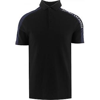 Armani Exchange Preto Regular Fit Polo Camisa