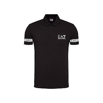 אמפוריו ארמני EA7 כותנה קלטת לוגו חולצת פולו שחורה