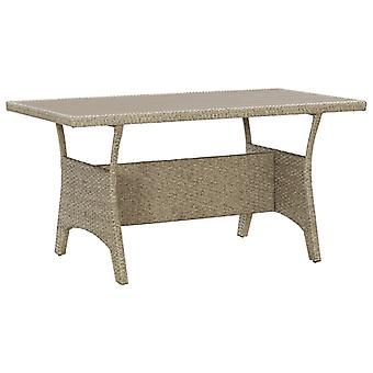 Tavolo da giardino grigio 130x70x66 Cm Poly Rattan
