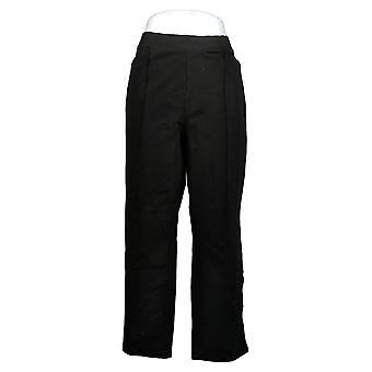 Susan Graver Women's Petite Pants Slim-Leg Pull-On Pants Black A384274
