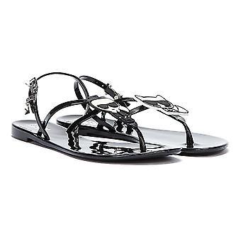 Karl Lagerfeld Ikonic Jelly Sling Back Womens Black Sandals