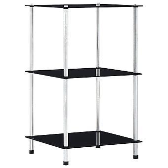 vidaXL Shelf with 3 shelves Black 40x40x67 cm tempered glass