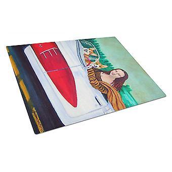 Caroline's Treasures Mona Lisa con Corgi Glass Cutting Board, Grande, Multicolor