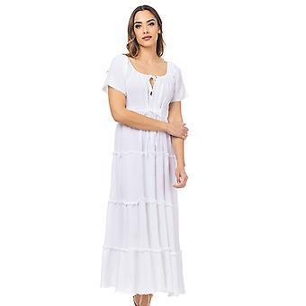 Maxi jurk met verstelbare taille met flyers