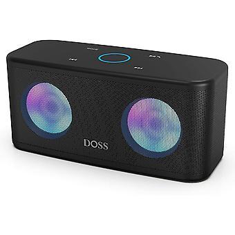 DOSS Jasný prenosný bluetooth reproduktor, bezdrôtový reproduktor, dotykové ovládanie, HD zvuk a výkonné basy, hands-free, 20 hodín prehrávania, reproduktory pre telefón, tablet a TV (čierna)