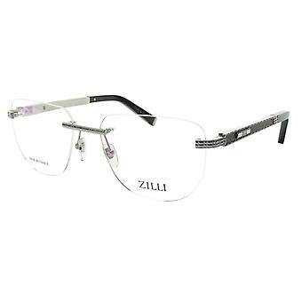 ZILLI Eyeglasses Frame Titanium Leather Acetate Silver France Made ZI 60025 C08