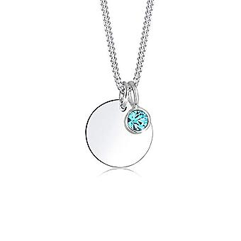 Elli Necklace with Pendant with Women's Crystal, in Silver 925, Blue (Light), Size 45
