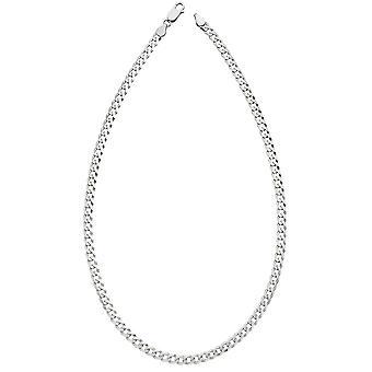"""Principios 925 Plata de Ley Hombre Diamante Corte Bordillo Cadena Collar Longitud 46cm / 18 """""""