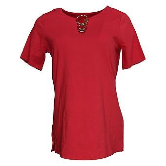 Belle by Kim Gravel Women's Top (XXS) Punto con Ring Detail Red A306973