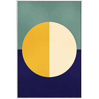JUNIQE Print - Licht en donker - Abstract en geometrische poster in blauw en geel