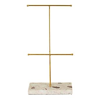 Sass & Belle Double Terrazzo Gold Jewellery Stand