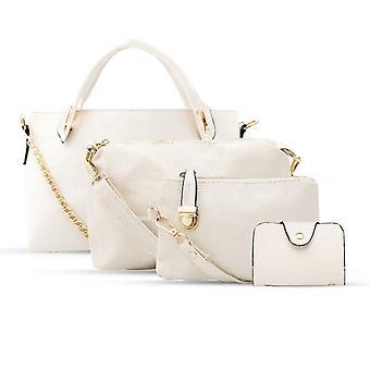 Aquarius Frauen 4 Stück Leder Handtasche Set, Packung mit 1, weiß
