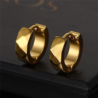 Boucles d'oreilles en acier inoxydable plaquées or 18K pour hommes 9mm