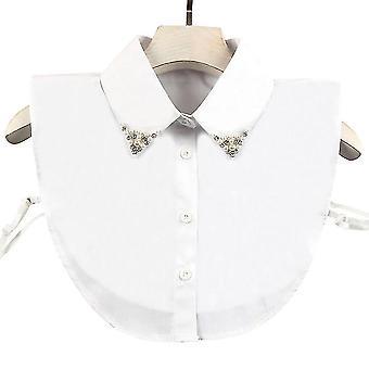 Rhinestone Inslaid Fake Collar Detachable Blouse Pearl Half Shirts