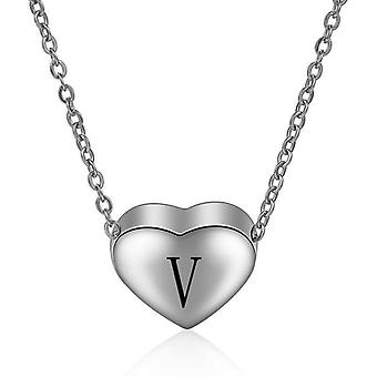 925 Sterling Silver Initial  Letter V Necklace - 18 inch