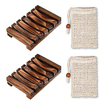 2 Pieces Soap Dish Wood Shower, 2 Pieces Soap Bags, Natural Bamboo